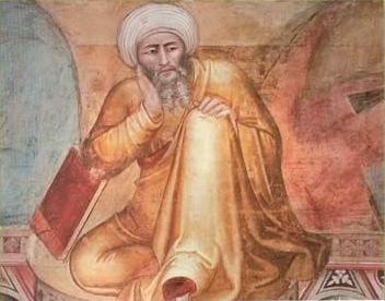 Averroës (Ausschnitt eines Gemäldes von Andrea Bonaiuto, 14. Jh.) sah in der Logik die einzige Möglichkeit des Menschen, glücklich zu werden. Die Logik (nach Aristoteles) lieferte für ihn die Möglichkeit, aus den Daten der Sinne zur Erkenntnis der Wahrheit zu kommen. Die Logik war für ihn das Gesetz des Denkens und der Wahrheit.